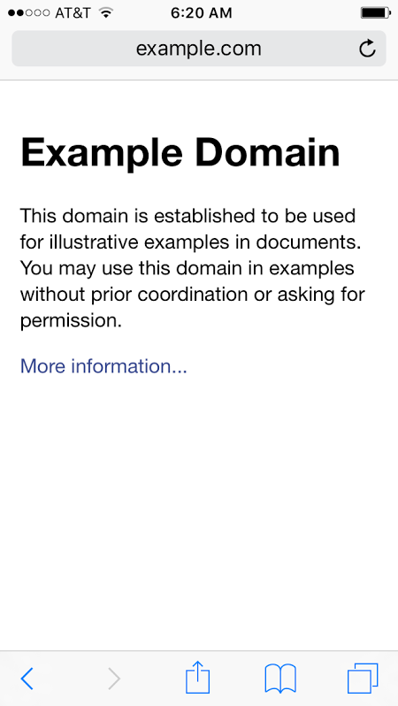 example.com on a mobile browser